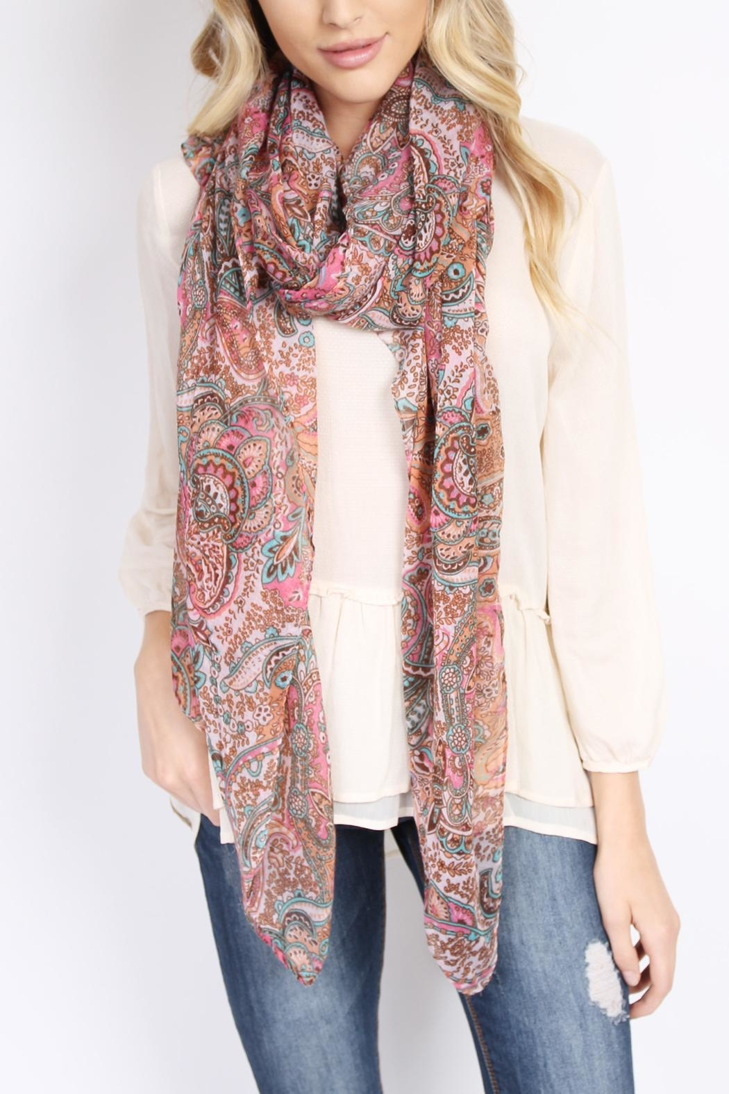 Riah Fashion Paisley Printed Oblong Scarf - Back Cropped Image