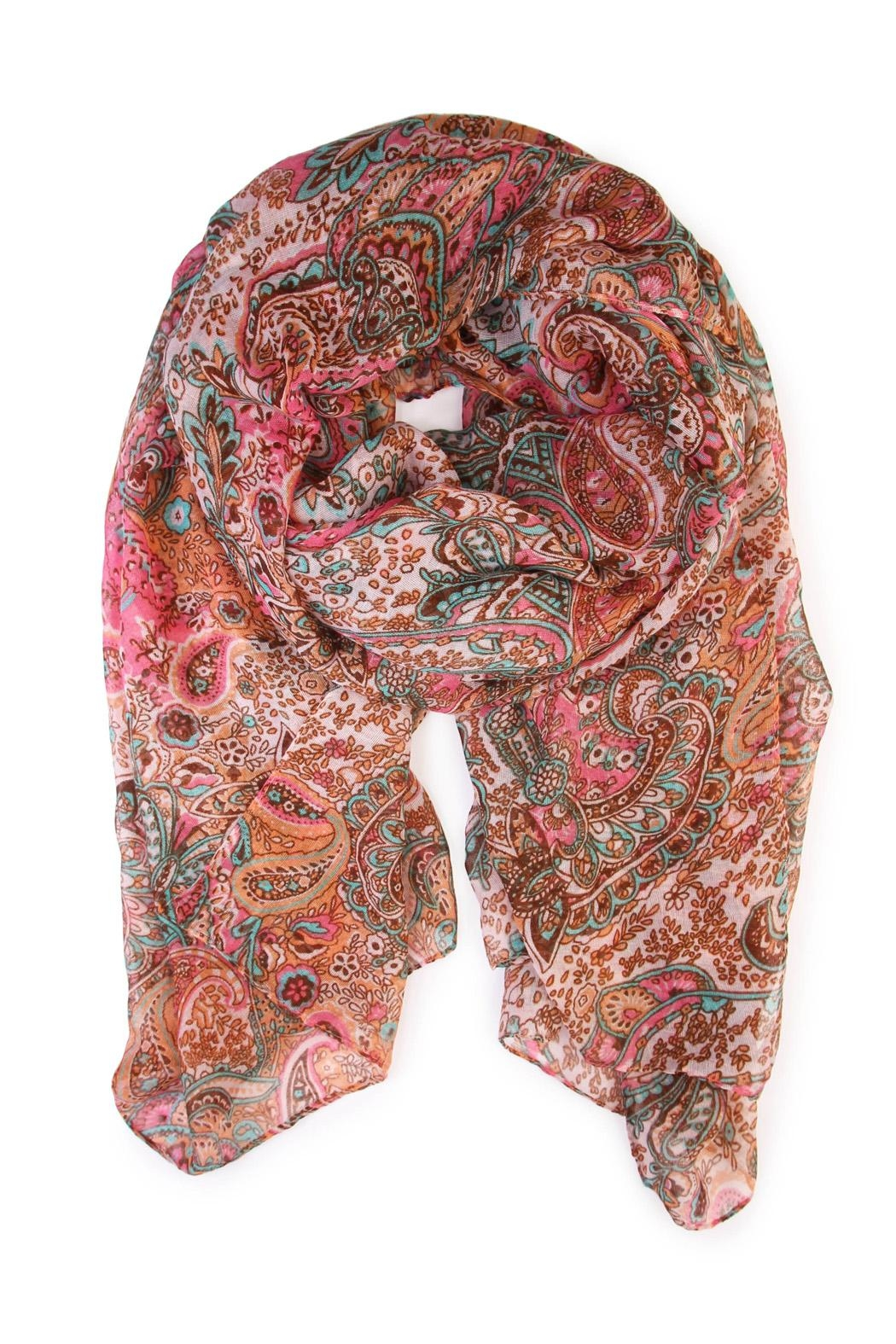 Riah Fashion Paisley Printed Oblong Scarf - Main Image