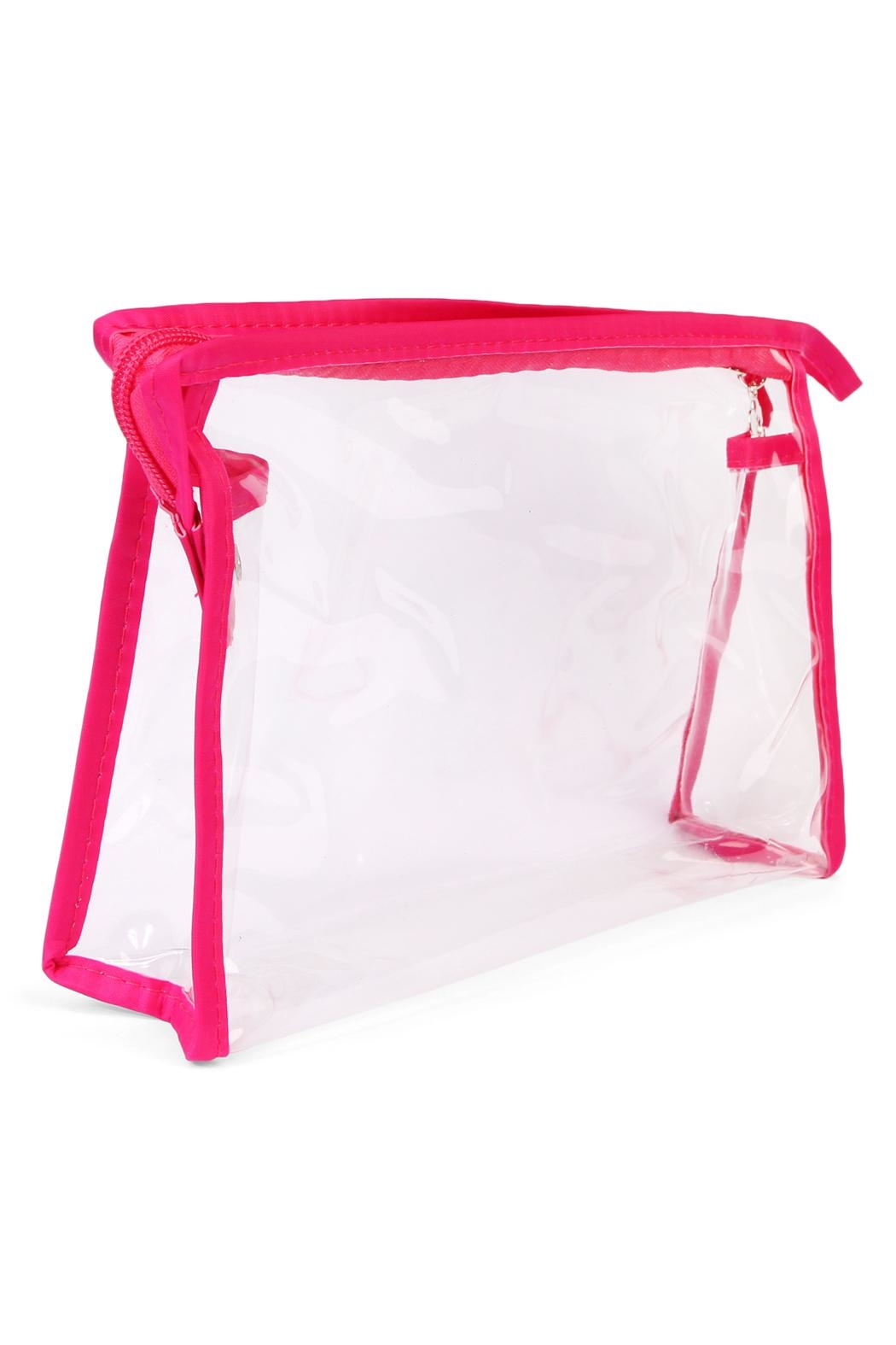 Riah Fashion Clear Cosmetic Bag - Back Cropped Image