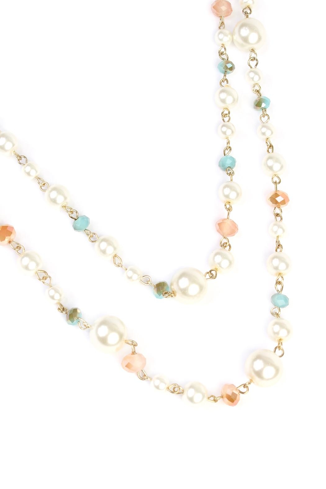 Riah Fashion Pastel Bead Pearl-Necklace - Front Full Image