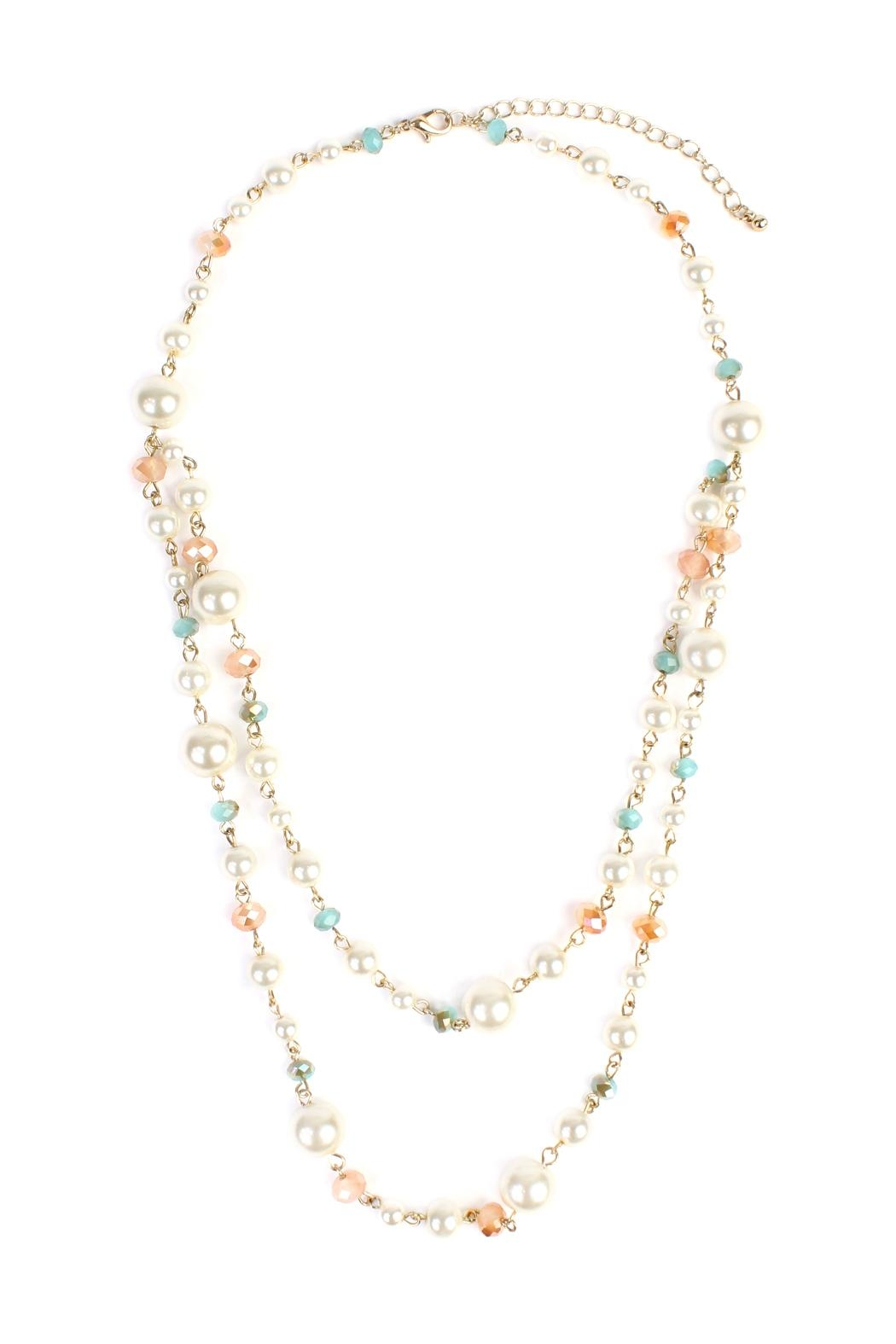 Riah Fashion Pastel Bead Pearl-Necklace - Main Image