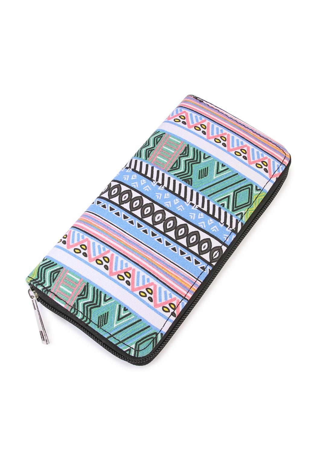 Riah Fashion Mix Print Wallet - Front Cropped Image