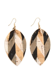 Riah Fashion Pattern Printed-Cork-Reverse Pinched-Teardrop-Earrings - Product Mini Image