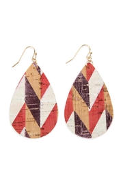 Riah Fashion Pattern Printed-Cork Teardropearrings - Product Mini Image