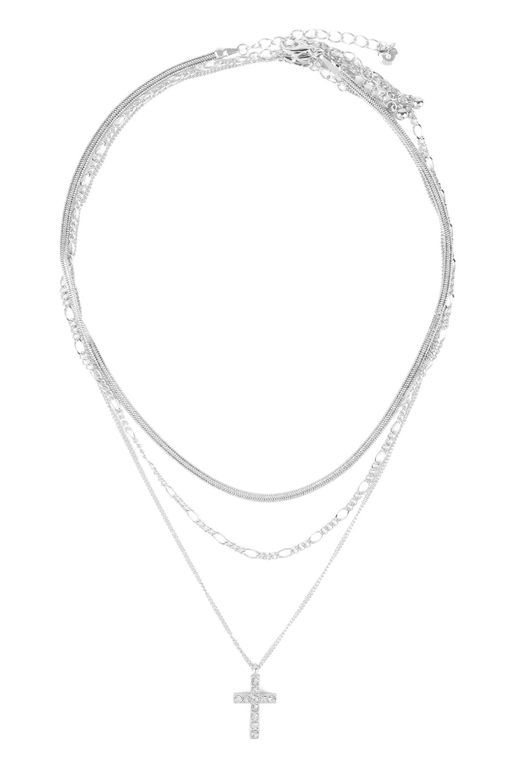 Riah Fashion Pave-Cross Pendant Multi Layered Necklace - Front Cropped Image