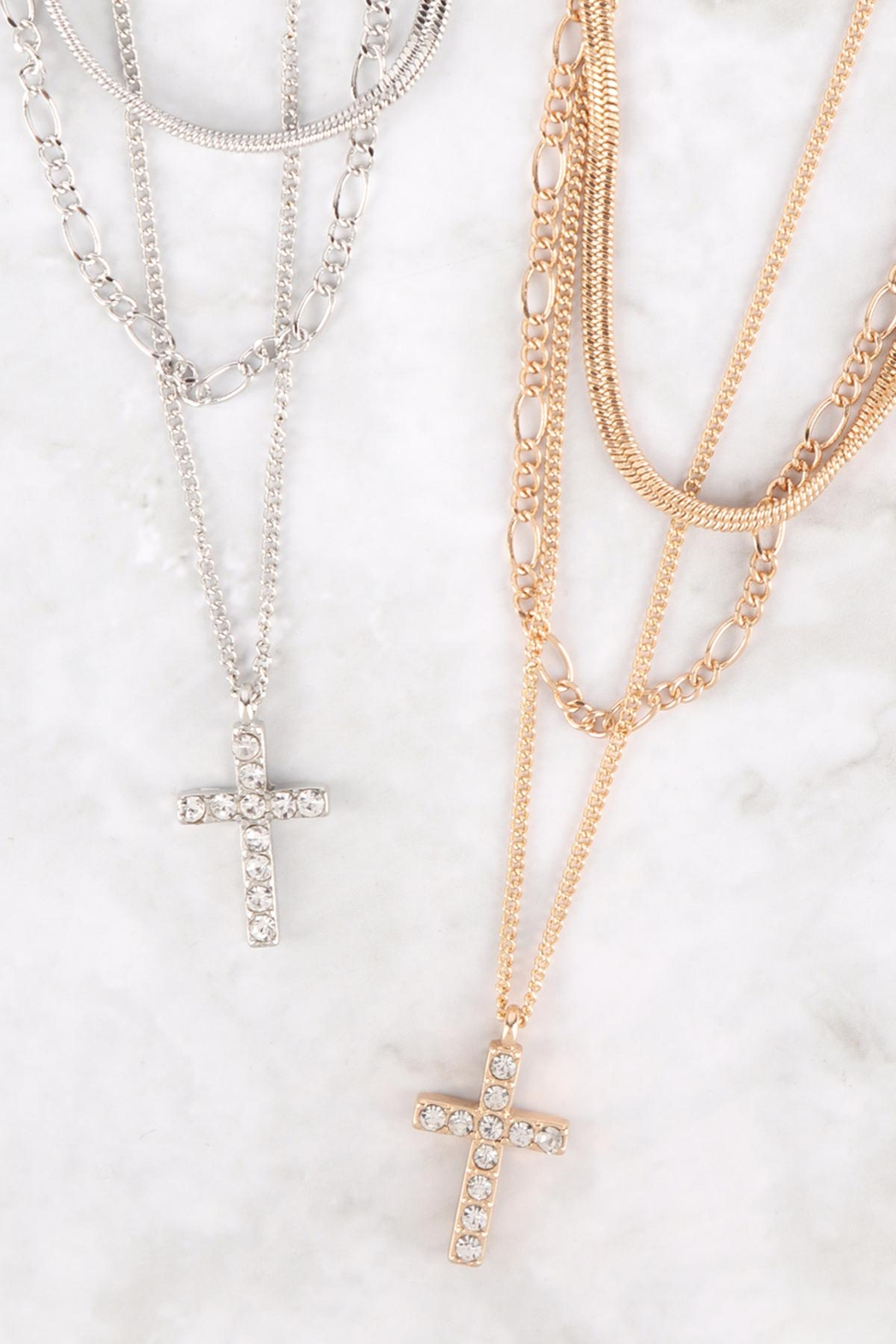 Riah Fashion Pave-Cross Pendant Multi Layered Necklace - Front Full Image