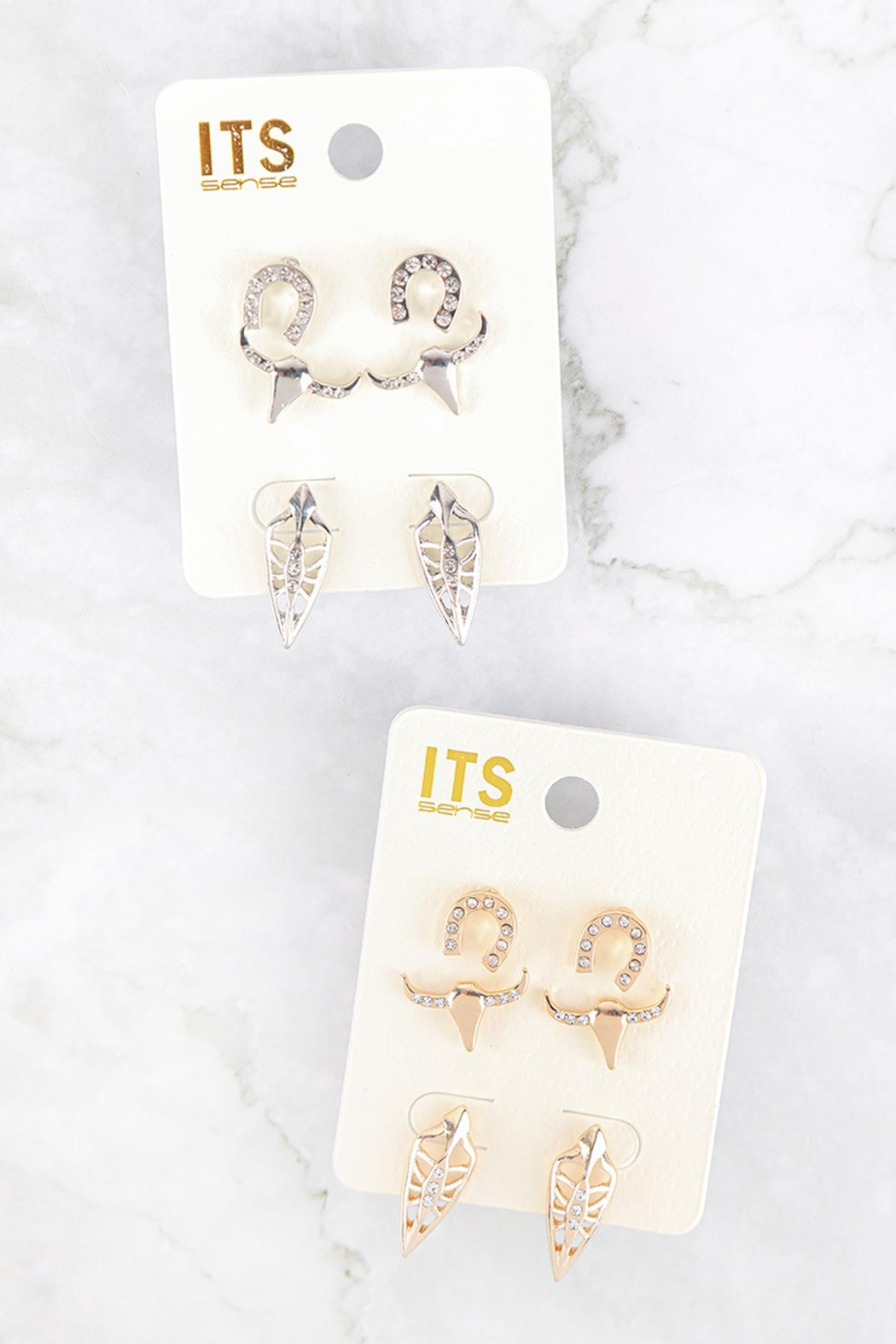 Riah Fashion Pave Cubic Ziconia Set Of 3 Stud Earrings - Front Full Image