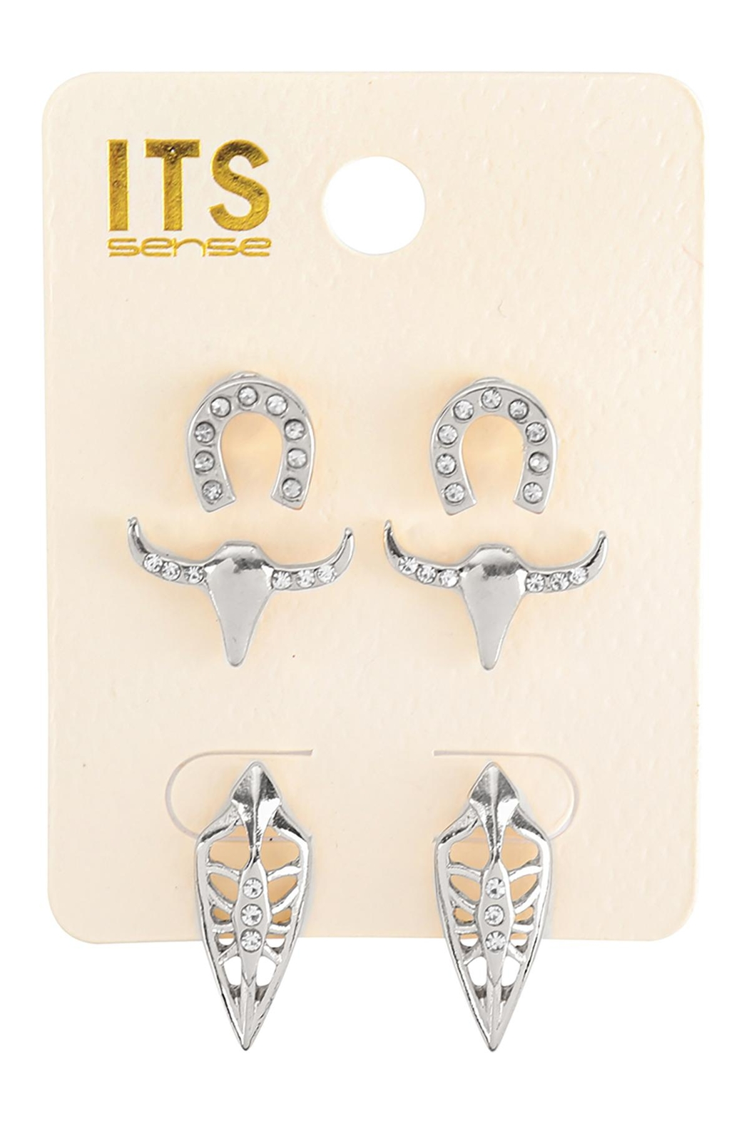 Riah Fashion Pave Cubic Ziconia Set Of 3 Stud Earrings - Front Cropped Image