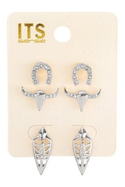 Riah Fashion Pave Cubic Ziconia Set Of 3 Stud Earrings - Front cropped