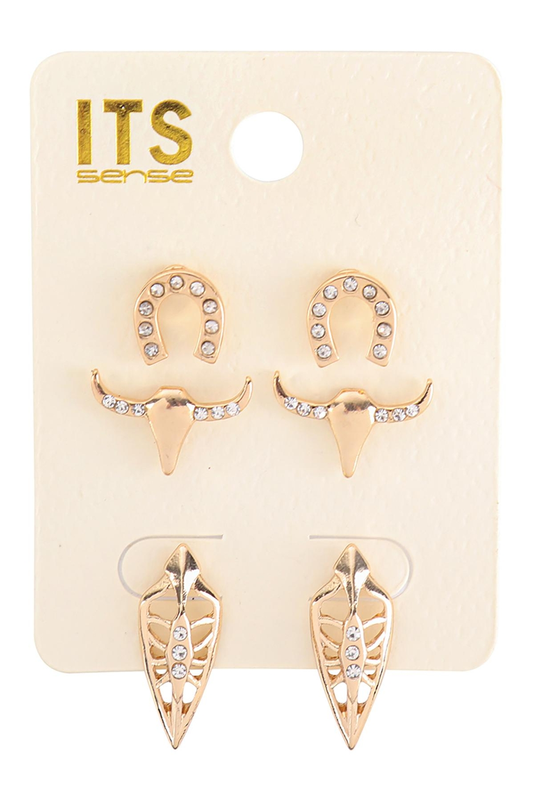 Riah Fashion Pave Cubic Ziconia Set Of 3 Stud Earrings - Main Image