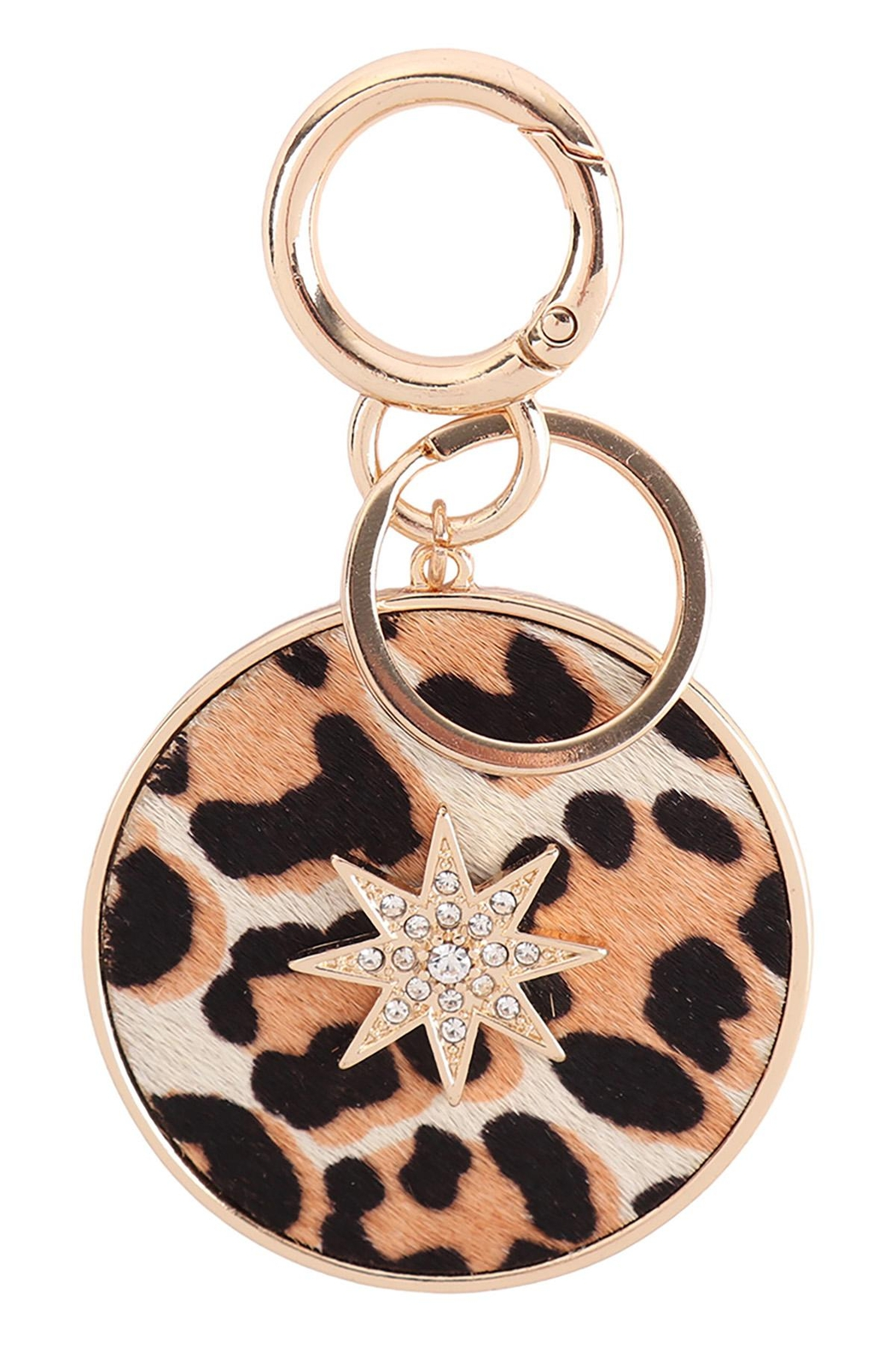 Riah Fashion Paved-Starburst-With-Real-Calf-Hair-Leather-Keychain - Front Cropped Image