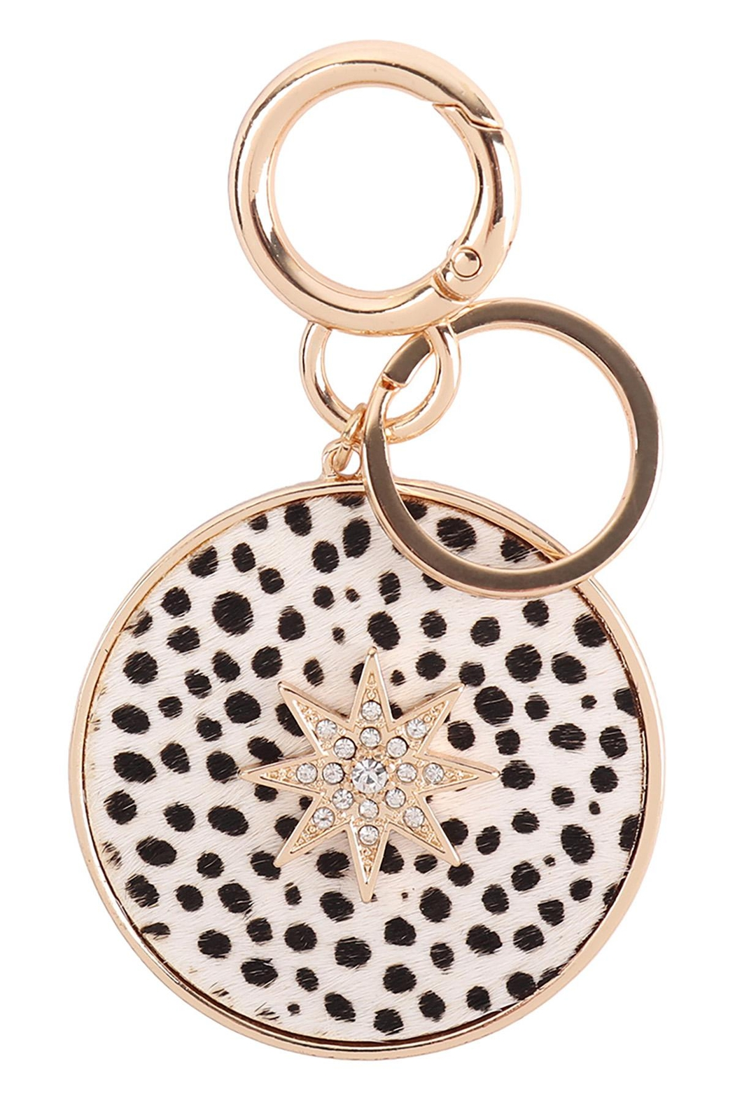 Riah Fashion Paved-Starburst-With-Real-Calf-Hair-Leather-Keychain - Main Image