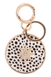 Riah Fashion Paved-Starburst-With-Real-Calf-Hair-Leather-Keychain - Front cropped