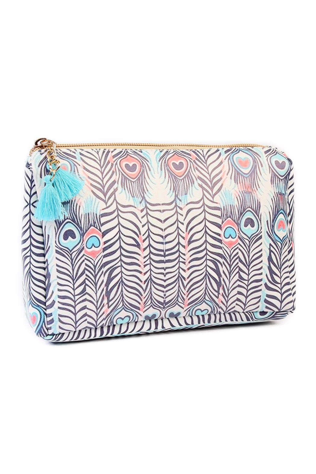 Riah Fashion Peacock Feather Cosmetic Pouch - Main Image