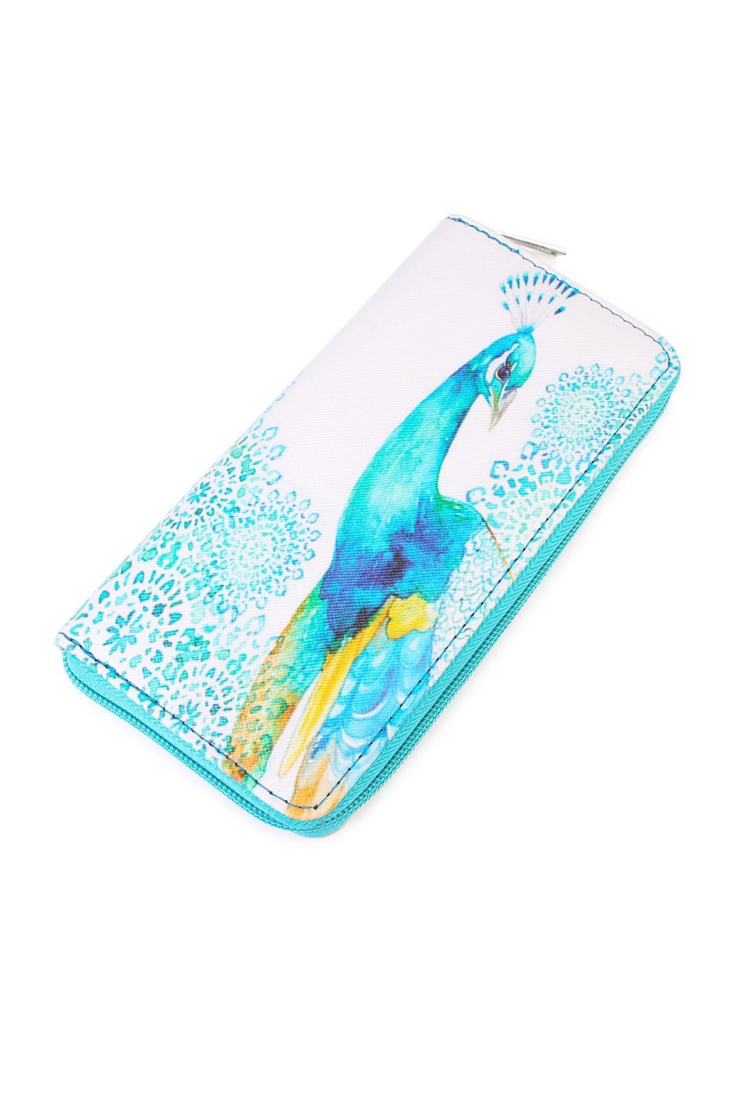 Riah Fashion Peacock Print Wallet - Front Cropped Image
