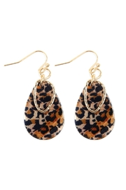 Riah Fashion Pear Shape Leopard-Printed Acetate-Earrings - Product Mini Image