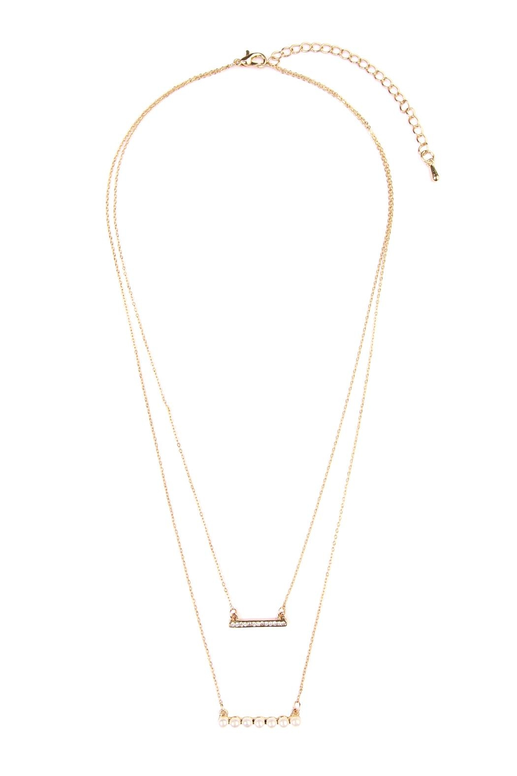 Riah Fashion Pearl Bar Necklace - Front Cropped Image