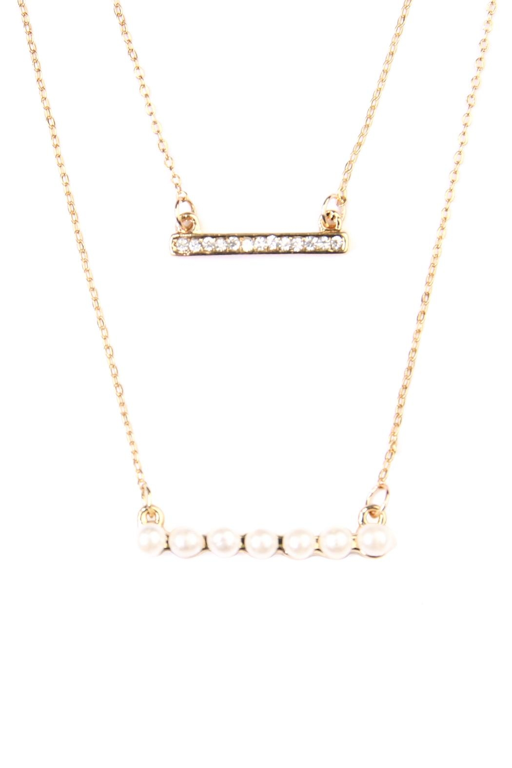 Riah Fashion Pearl Bar Necklace - Front Full Image