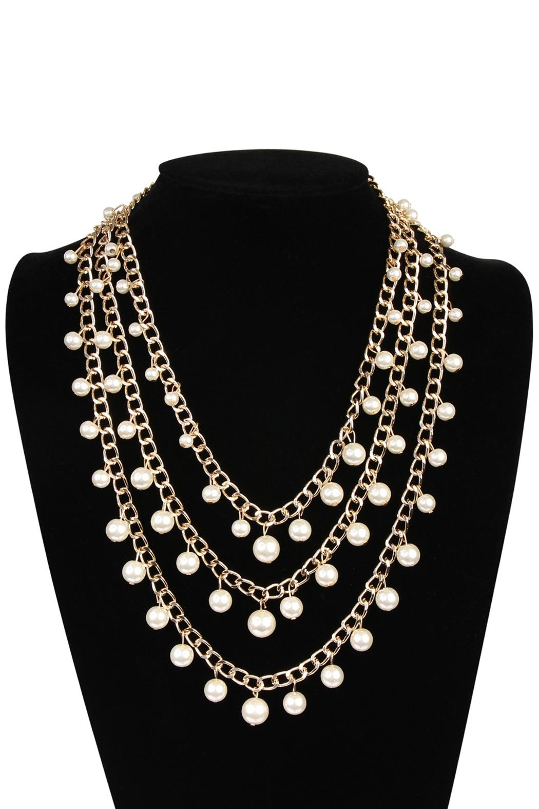 Riah Fashion Pearl Chain Necklace - Front Full Image