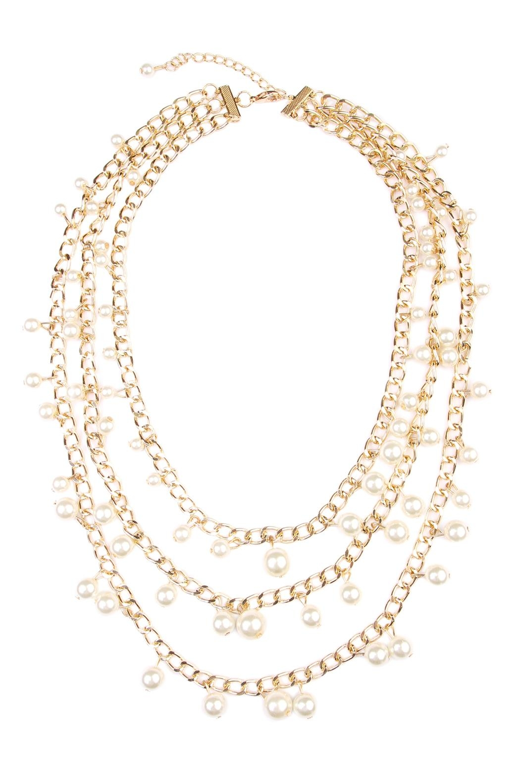 Riah Fashion Pearl Chain Necklace - Main Image