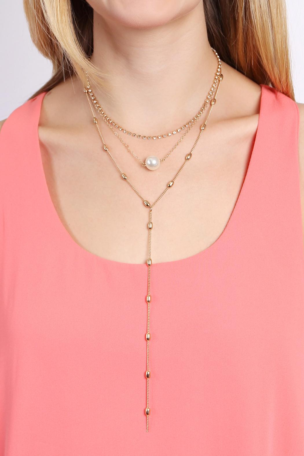 Riah Fashion Pearl Chain Necklace - Back Cropped Image