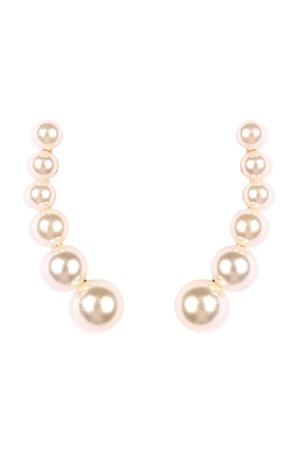 Riah Fashion Pearl Crawler Earrings - Front Cropped Image