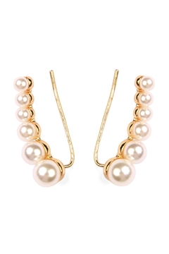 Riah Fashion Pearl Crawler Earrings - Product List Image