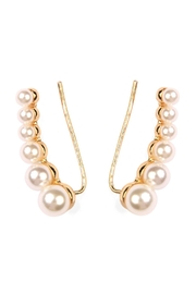 Riah Fashion Pearl Crawler Earrings - Product Mini Image