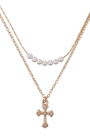 Riah Fashion Pearl-Cross-Layered-Pendant-Necklace - Product Mini Image