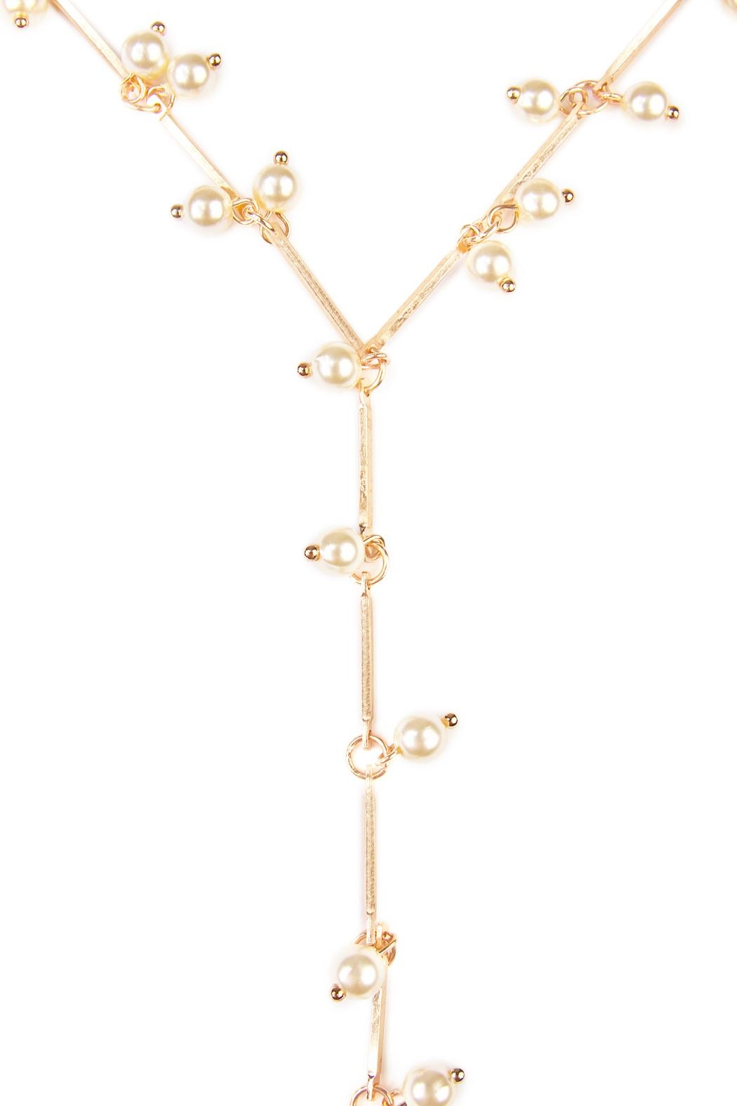 Riah Fashion Pearl Lariat Necklace - Front Full Image
