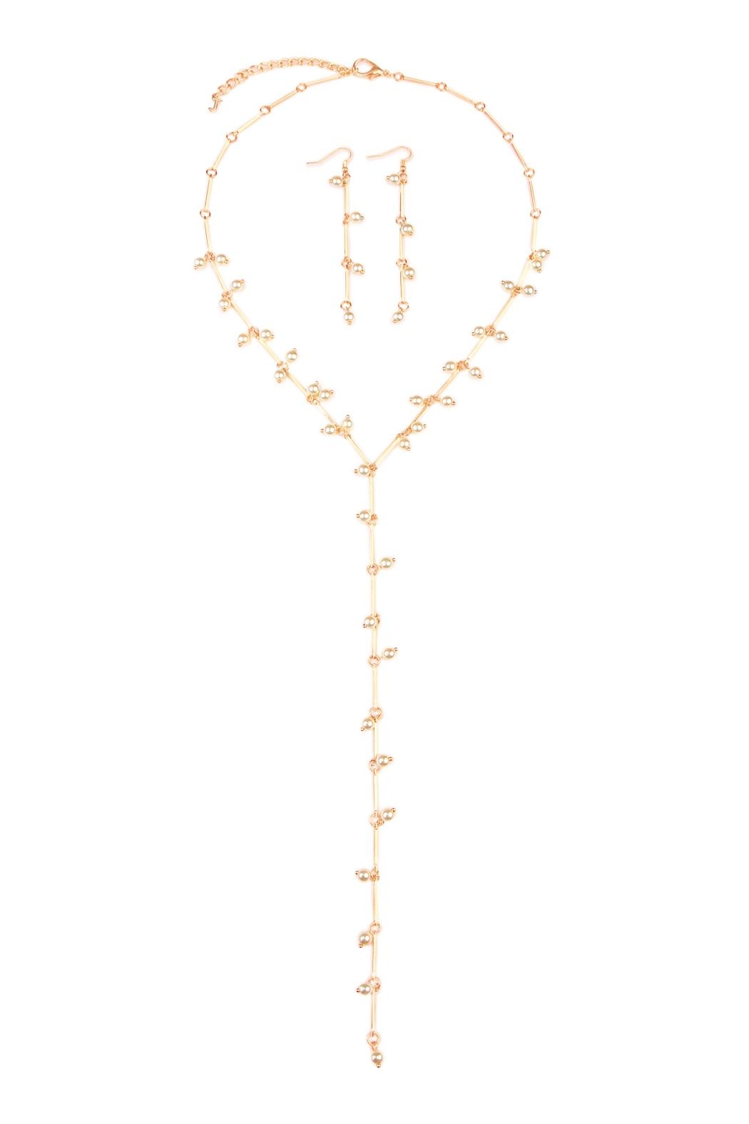 Riah Fashion Pearl Lariat Necklace - Main Image