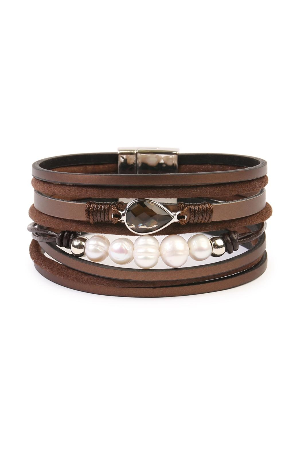 Riah Fashion Pearl-Detailed Leather Trendy-Bracelet - Main Image