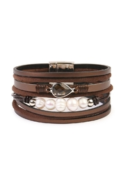 Riah Fashion Pearl-Detailed Leather Trendy-Bracelet - Front cropped