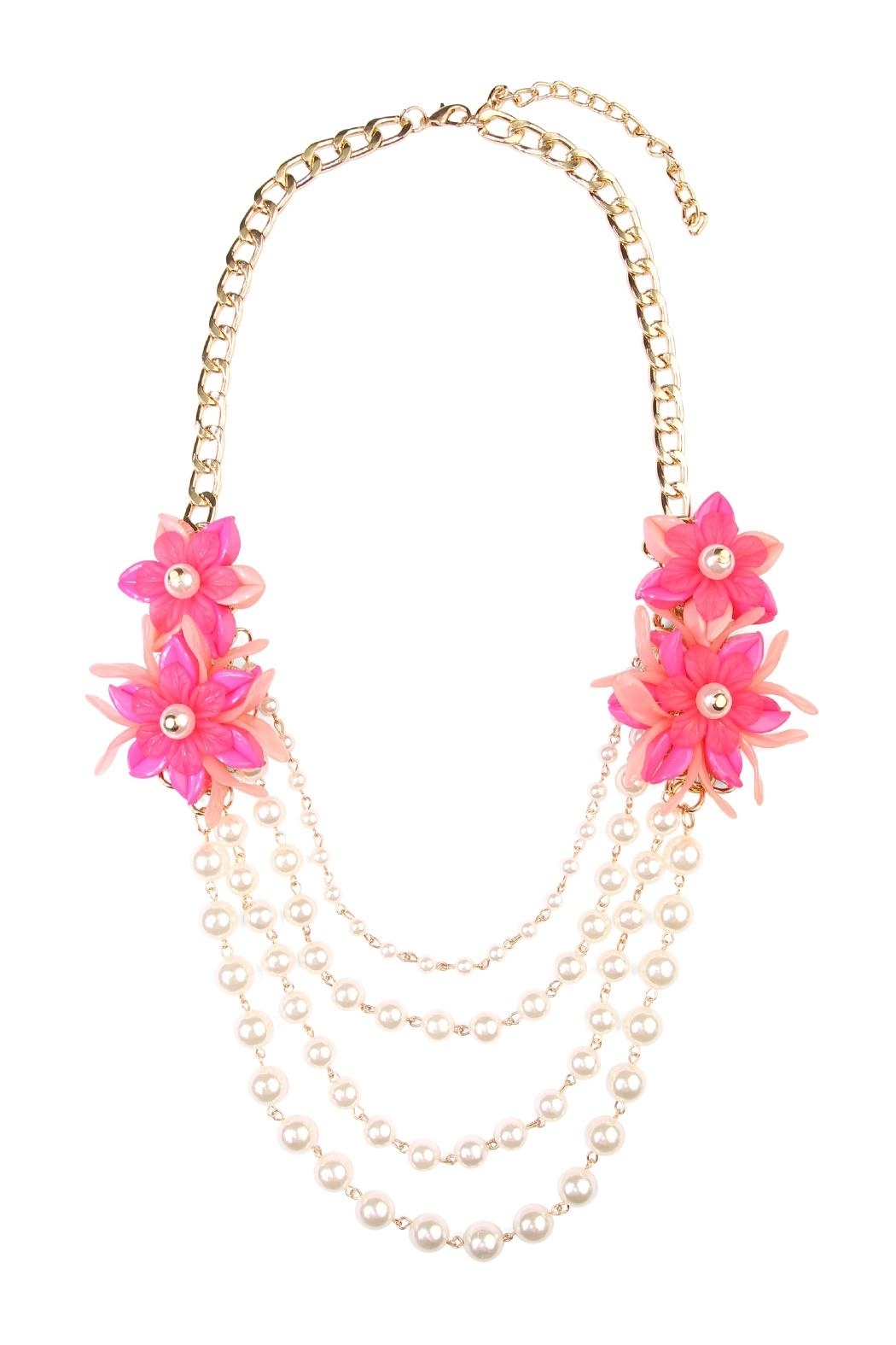 Riah Fashion Pearl Floral-Accent Necklace - Main Image