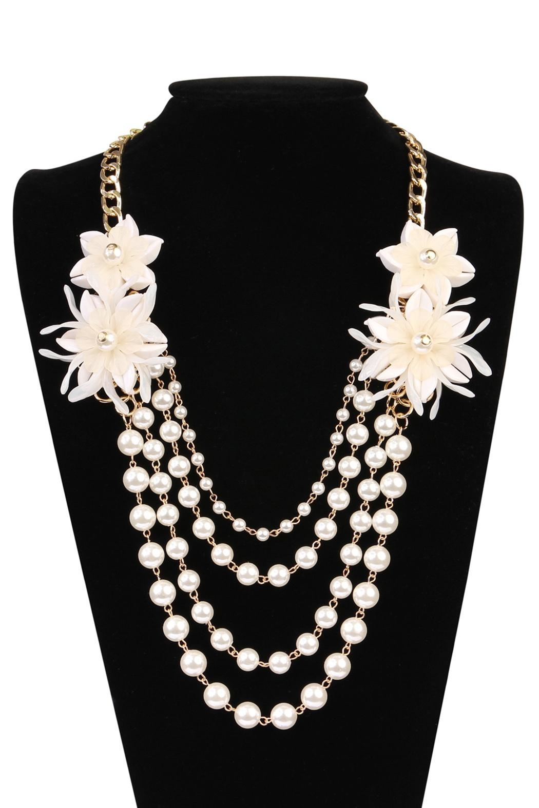 Riah Fashion Pearl Floral-Accent Necklace - Front Full Image