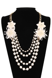 Riah Fashion Pearl Floral-Accent Necklace - Front full body