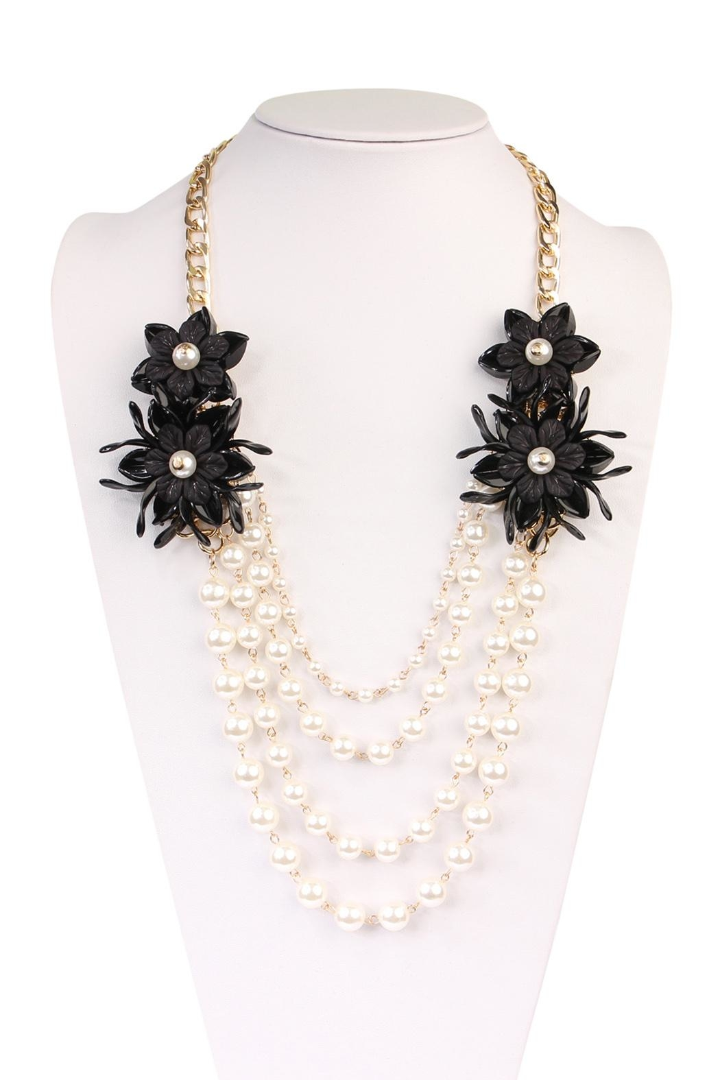 Riah Fashion Pearl Floral-Accent Necklace - Side Cropped Image