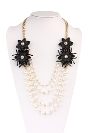 Riah Fashion Pearl Floral-Accent Necklace - Side cropped