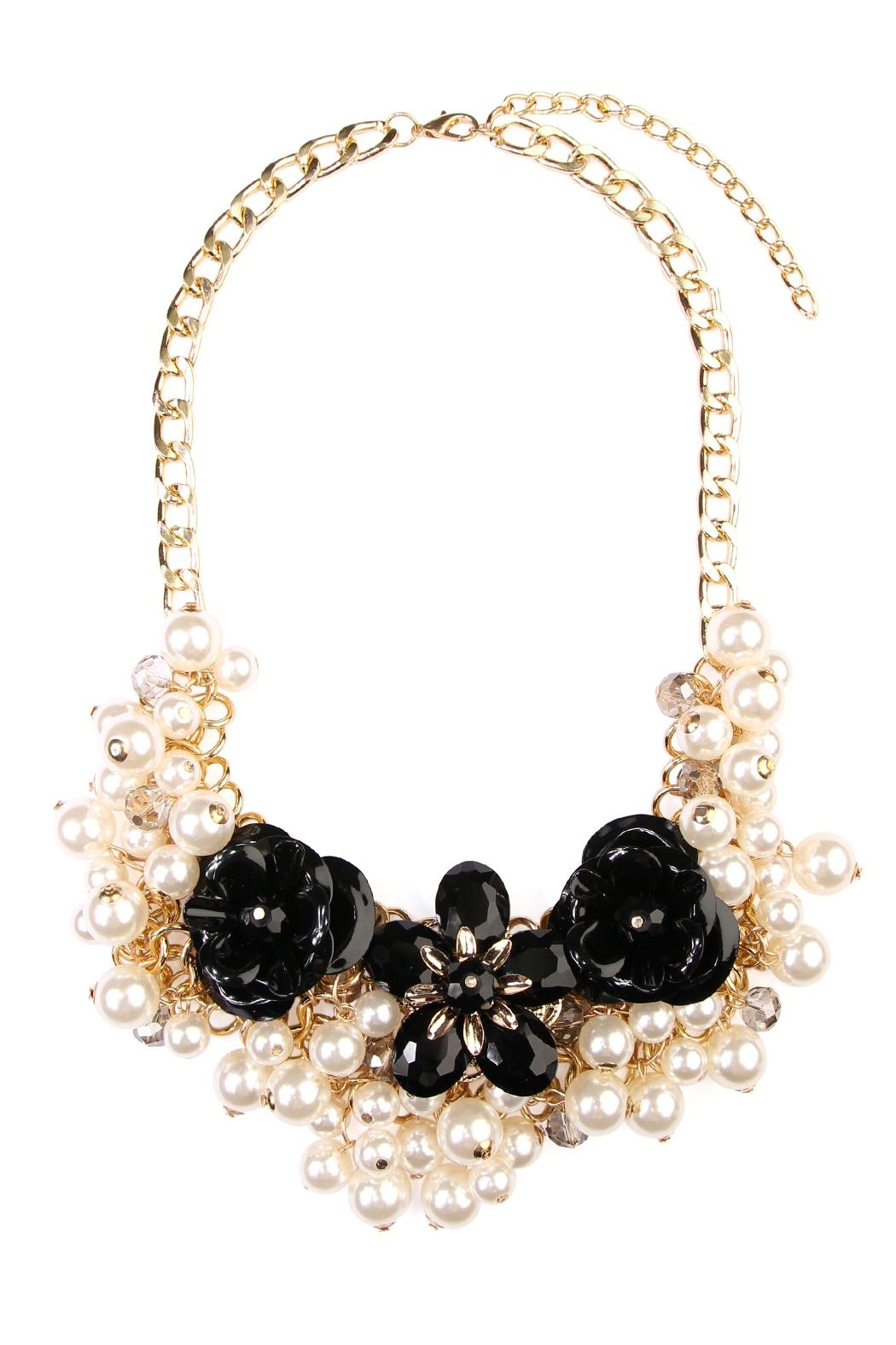 Riah Fashion Pearl Floral Necklace - Main Image