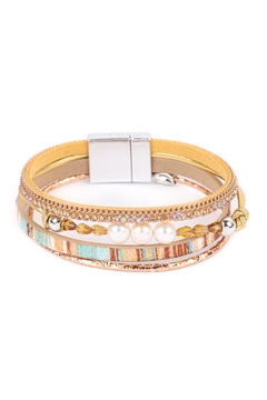 Riah Fashion Pearl-Glass-Bead-Leather-Mix-Magnetic-Lock-Bracelet - Product List Image