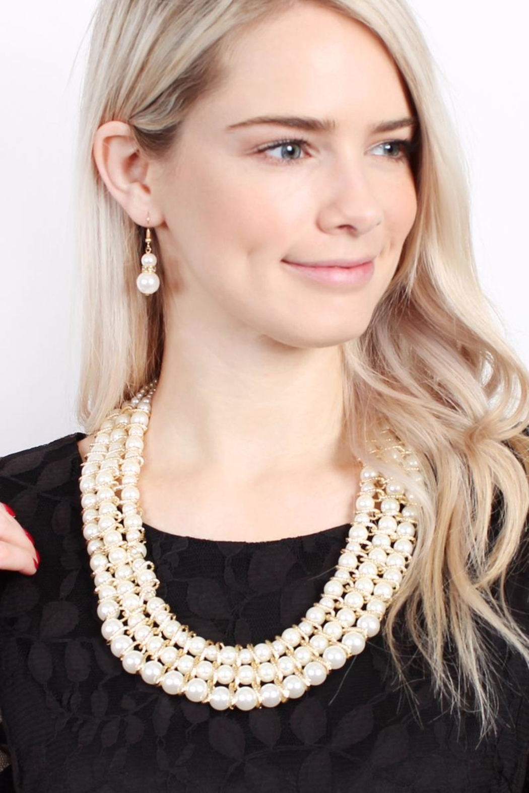 Riah Fashion Pearl-&-Goldtone 3-Row Necklace-Earring-Set - Front Full Image