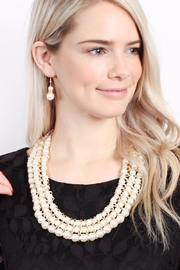 Riah Fashion Pearl-&-Goldtone 3-Row Necklace-Earring-Set - Front full body