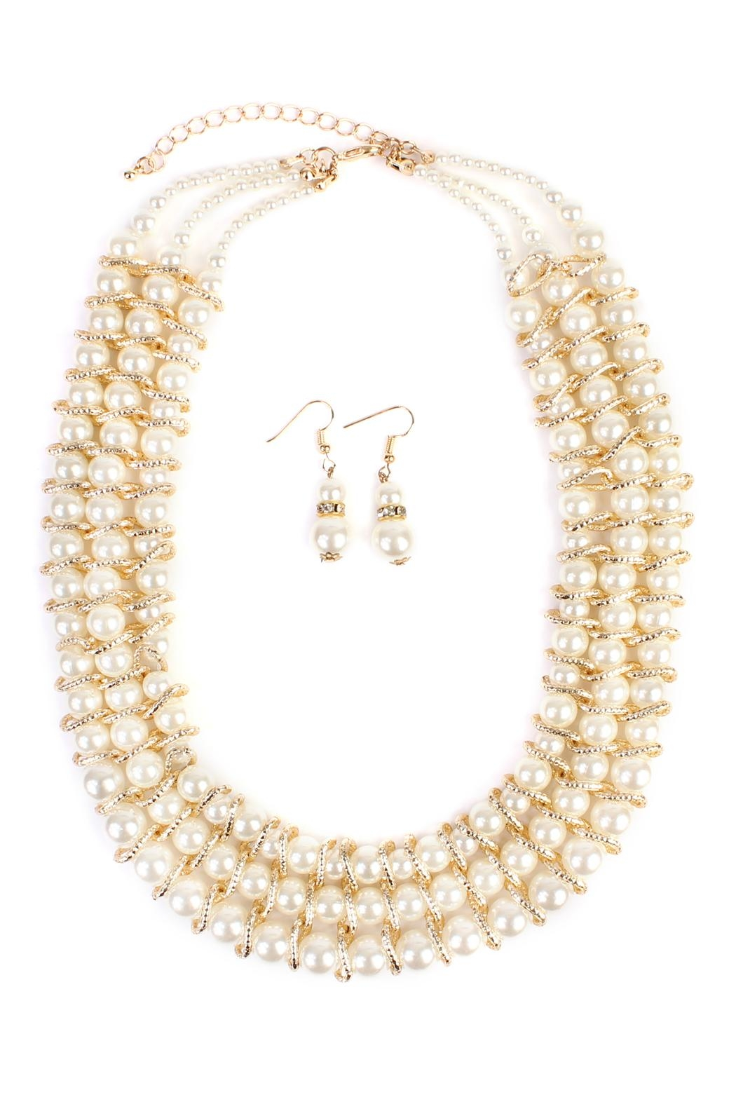 Riah Fashion Pearl-&-Goldtone 3-Row Necklace-Earring-Set - Main Image