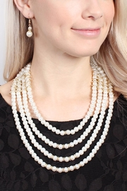 Riah Fashion Pearl-&-Goldtone 4-Layer  Necklace-Earring-Set - Front full body