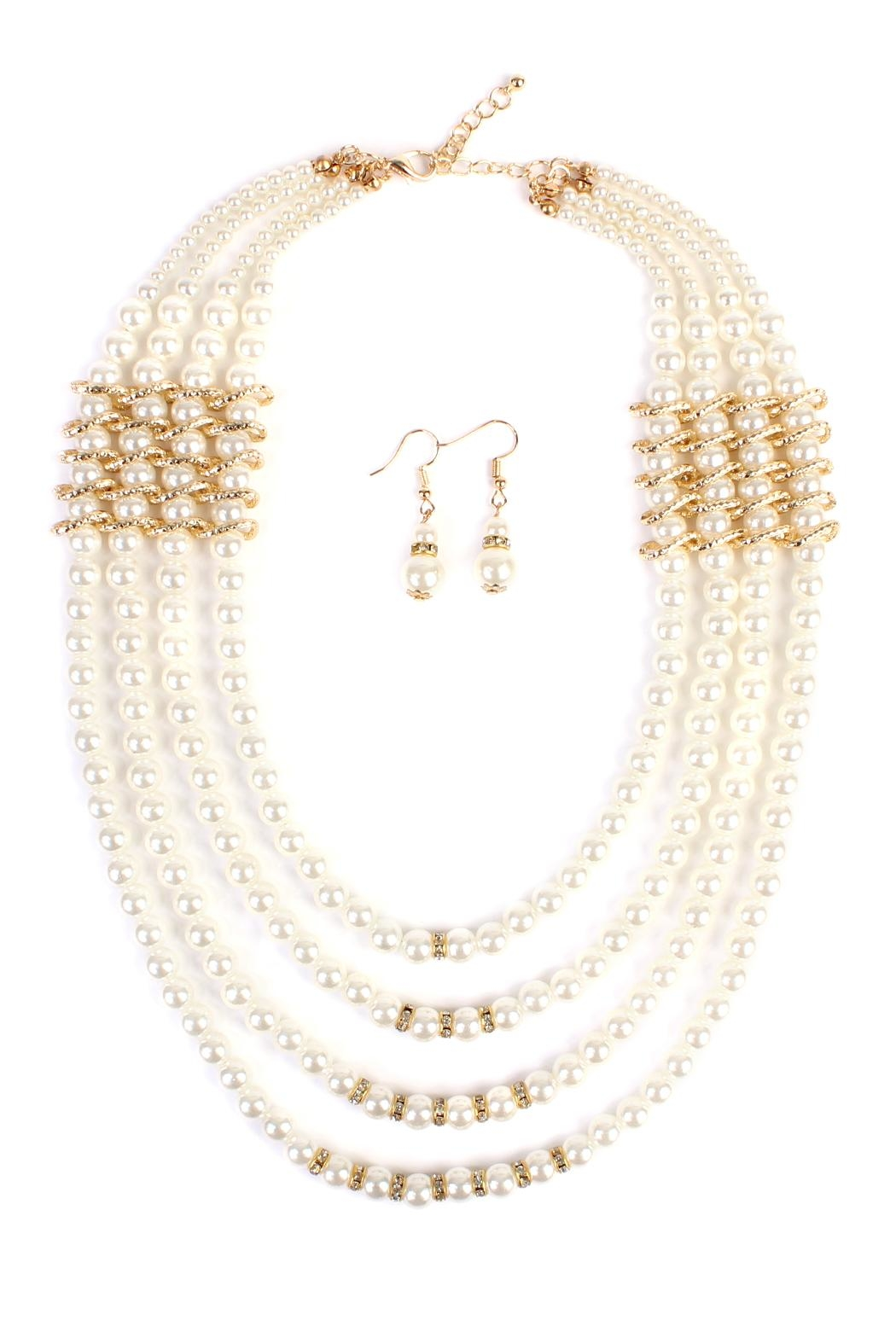 Riah Fashion Pearl-&-Goldtone 4-Layer  Necklace-Earring-Set - Main Image