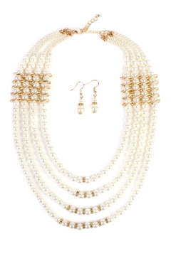 Shoptiques Product: Pearl-&-Goldtone 4-Layer  Necklace-Earring-Set