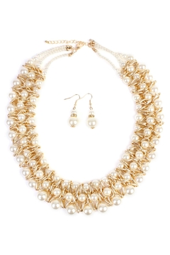 Riah Fashion Pearl-&-Goldtone-Twist Necklace-Earring-Set - Product List Image