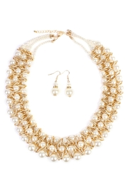 Riah Fashion Pearl-&-Goldtone-Twist Necklace-Earring-Set - Product Mini Image