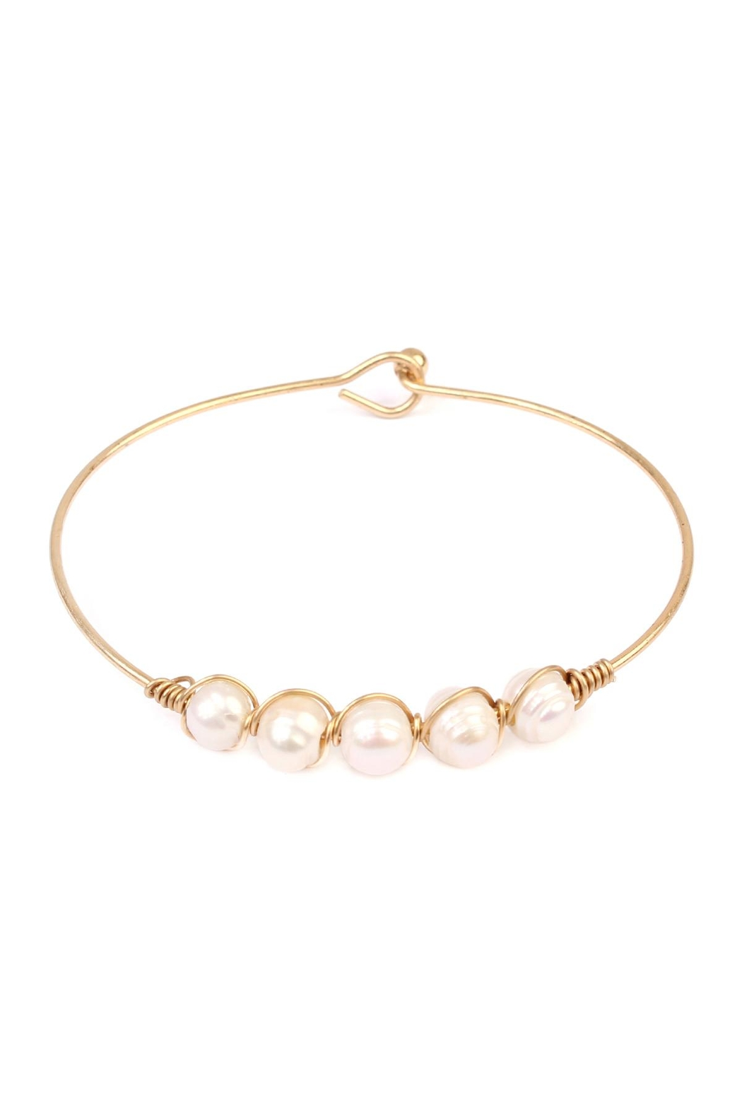 Riah Fashion Pearl-Goldtone Wired Bracelet - Front Cropped Image