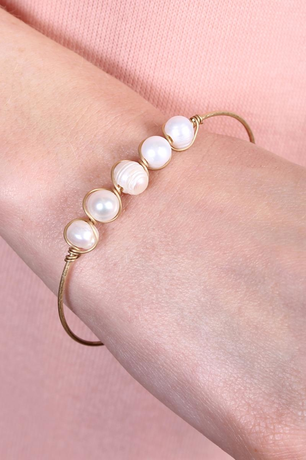 Riah Fashion Pearl-Goldtone Wired Bracelet - Front Full Image